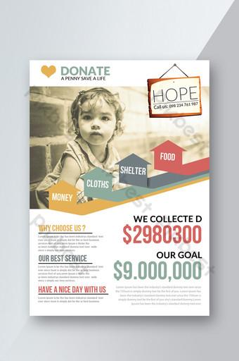 Modèle de Flyer d'annonce de don de charité Modèle PSD