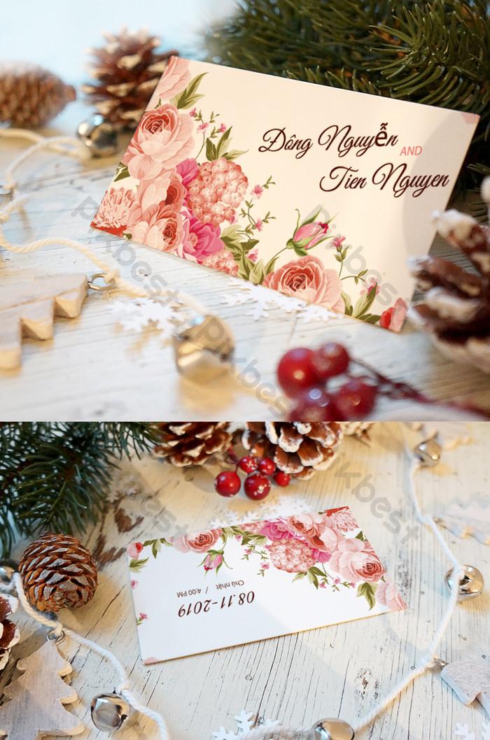vintage kwiatowy ślub karty