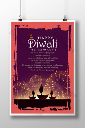 cartel del festival de iluminación de fuegos artificiales feliz deepavali diwali Modelo AI