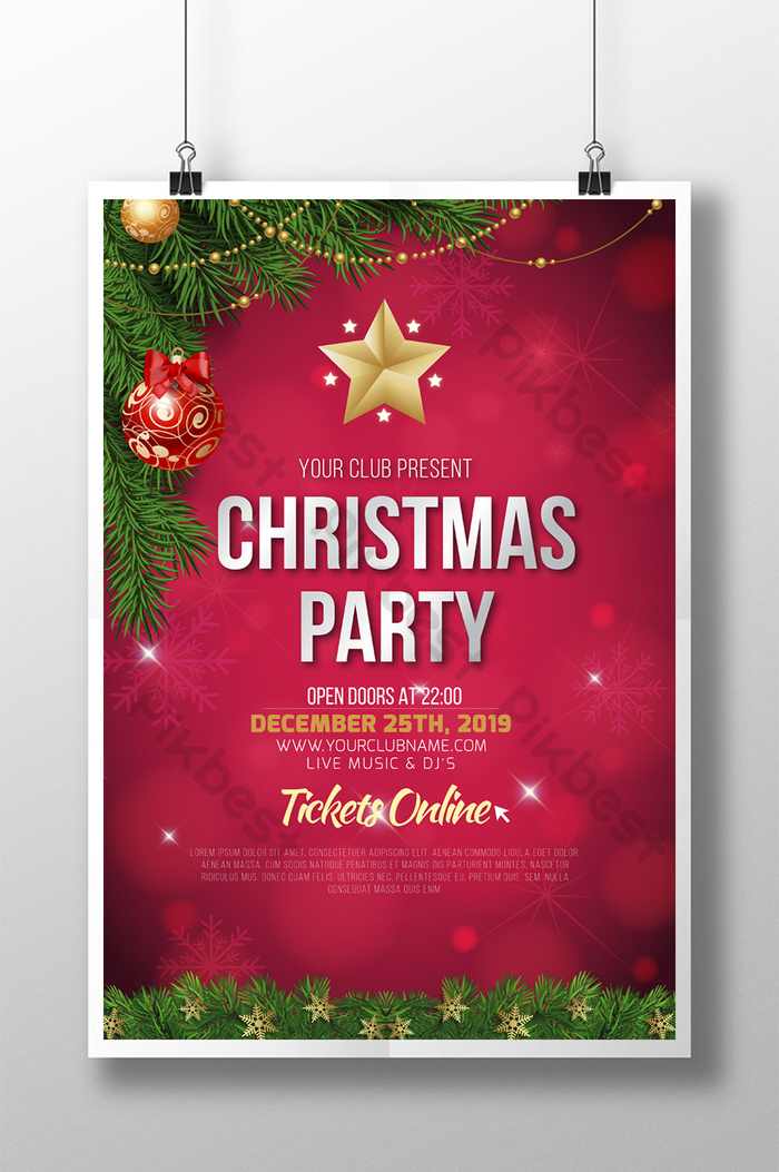 christmas tree christmas party poster template