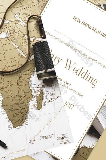 Invitation de mariage de carte spéciale de la terre Modèle AI