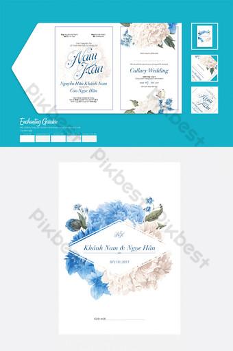 دعوة زفاف زهرة زرقاء للطباعة قالب AI