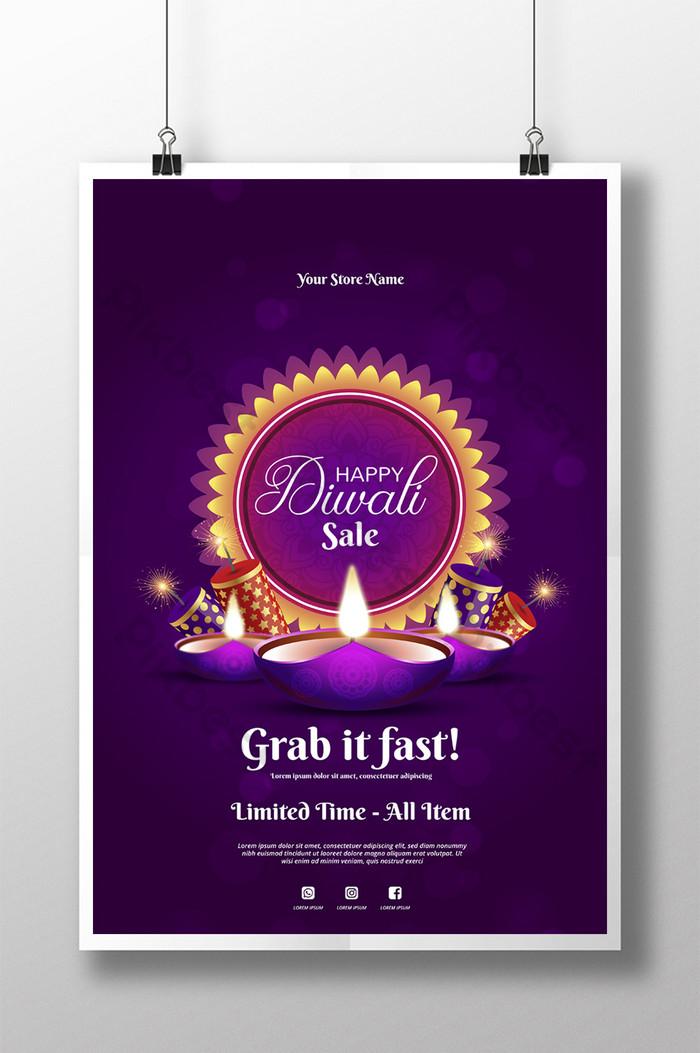 poster jualan ungu diwali yang indah