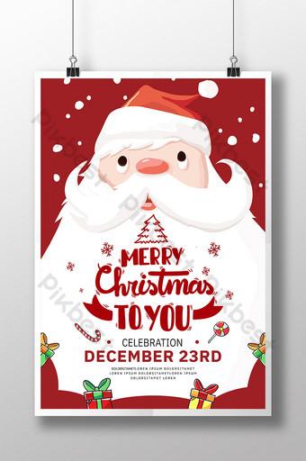 cartel de santa claus de estilo de dibujos animados de feliz navidad Modelo PSD