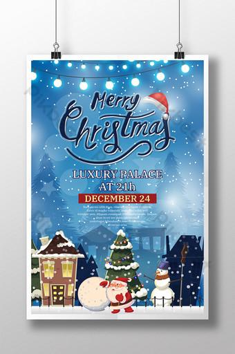 feliz navidad santa claus cartel de nieve Modelo PSD