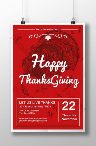 عيد شكر سعيد مهرجان تركيا ملصق أحمر قالب PSD