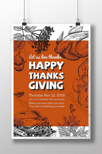 عيد شكر سعيد مهرجان خط تركيا رسم ملصق قالب PSD