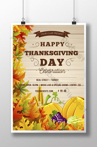 Invitation à l'affiche de joyeux Thanksgiving Modèle AI