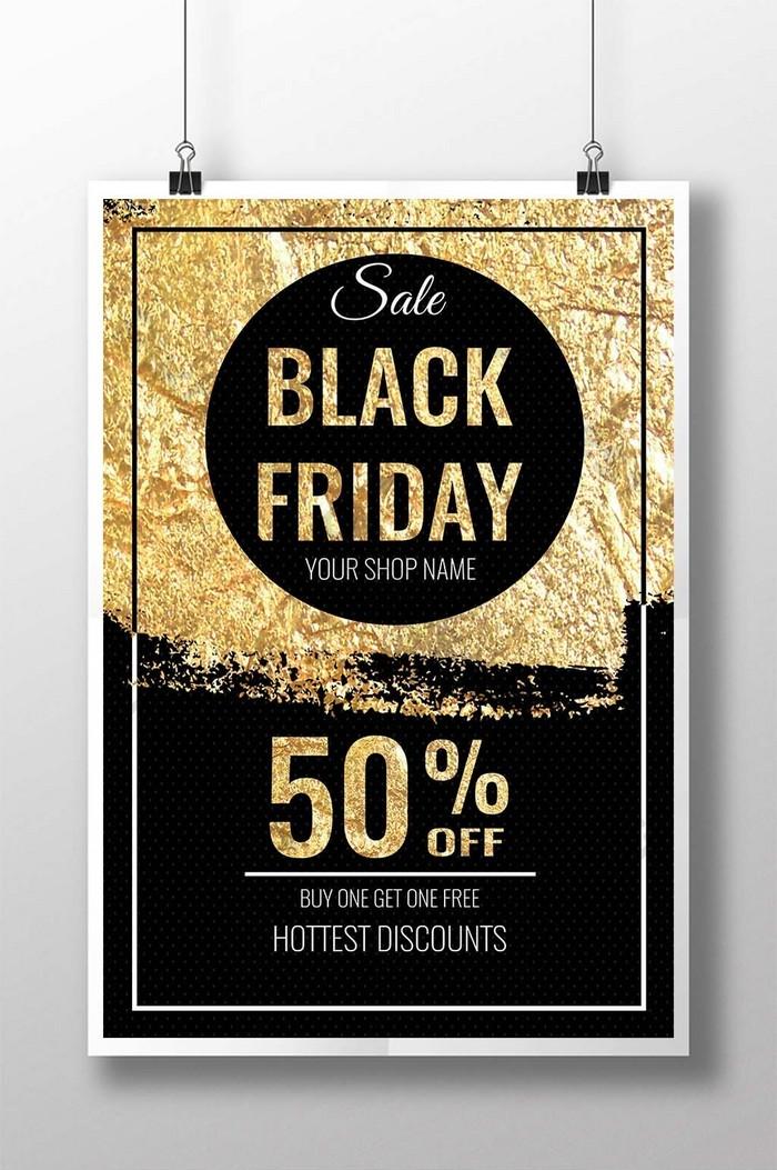 Плакат фестиваля счастливой черной пятницы Распродажа золотых украшений