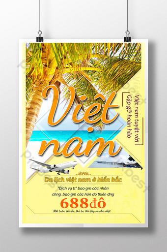 moda pop playa soleada árbol de coco avión color cálido descuento cartel de viaje Modelo PSD