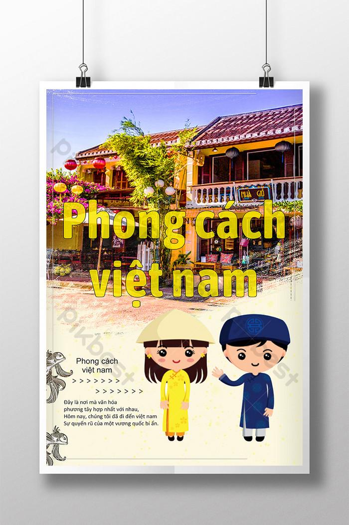 poster kostum tradisional tokoh kartun gaya vietnam