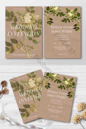 Flyer de plante verte de papier d'invitation de mariage Modèle PSD