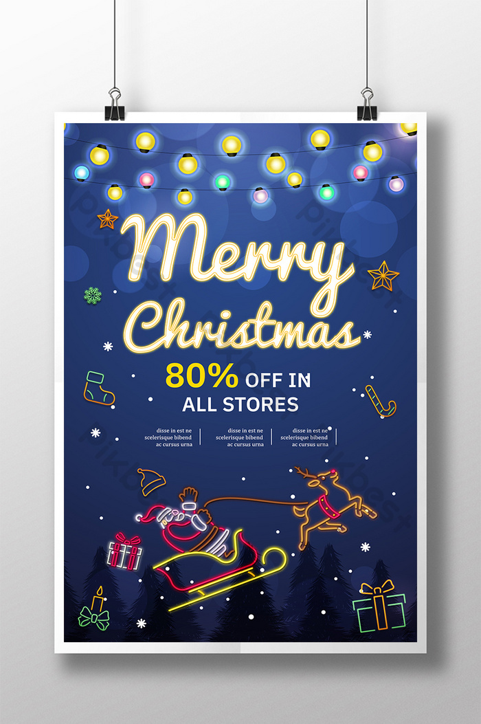 merry christmas starring night color bulb poster