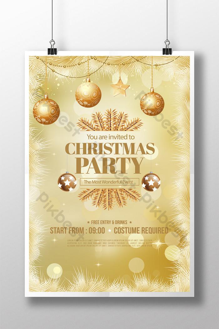 金色風格聖誕快樂星星羽毛海報