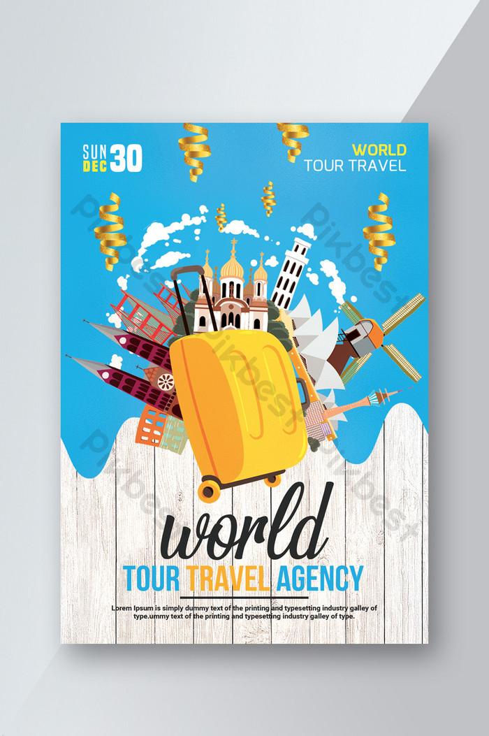 tour travel flyer summer cool blue suitcase cartoon poster