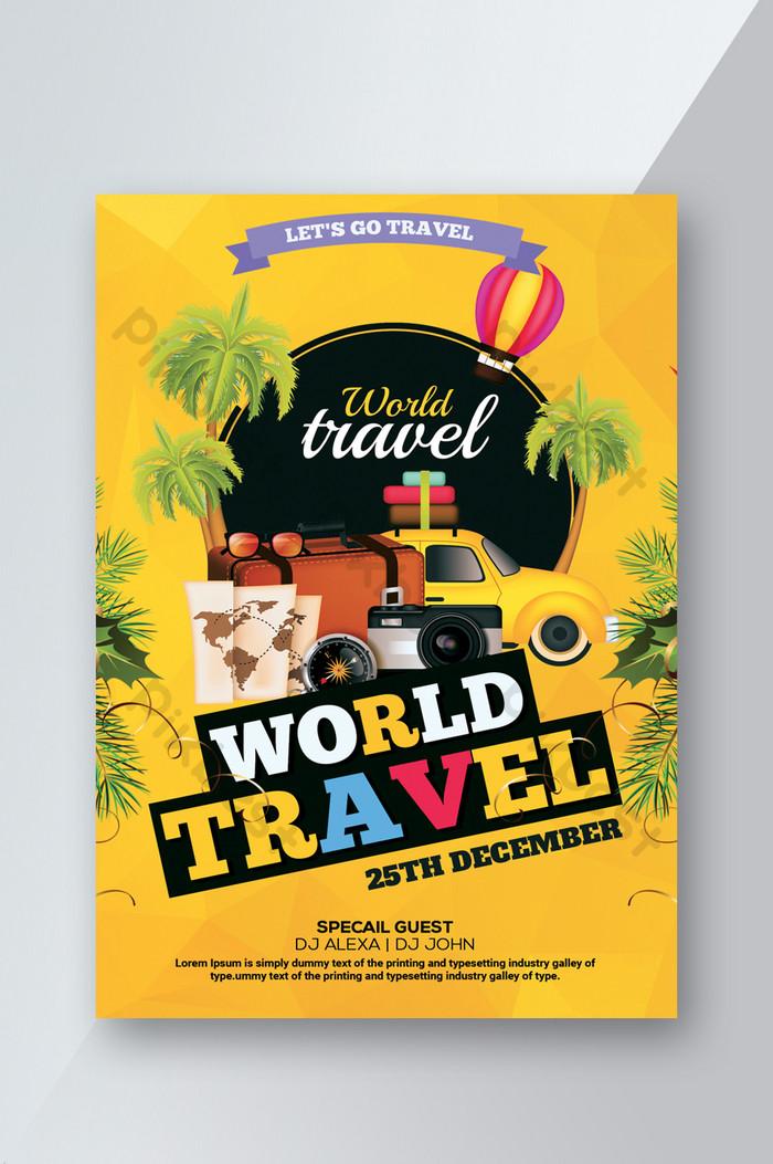 travel agency flyer เทมเพลตโปสเตอร์สีเหลืองสดใสกระชับ