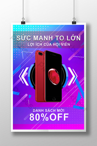 Ecommerce Electronic Product Colorful Line Discount Poster Template PSD