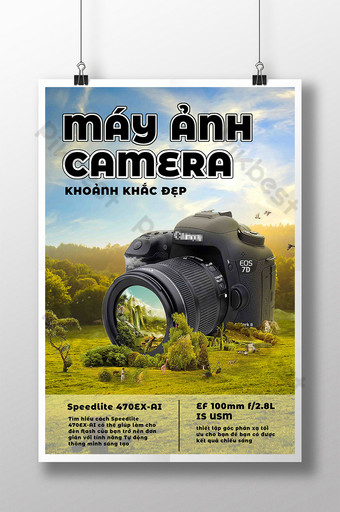 Ecommerce Electronic Product Camera Scenery Grassland Poster Template PSD