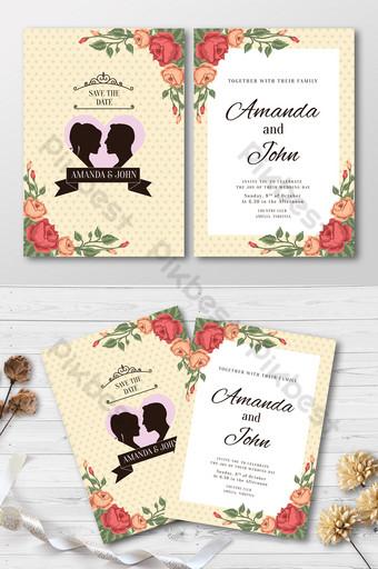 linda invitación de boda con plantillas de silueta de pareja Modelo AI