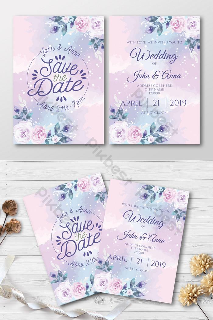 jemputan perkahwinan cat air yang indah