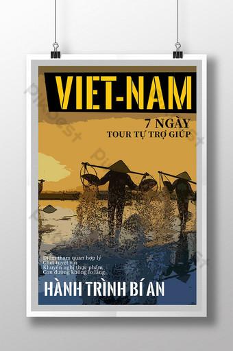 hombre de viaje de vietnam con un cartel de estilo cómico de sombrero Modelo PSD
