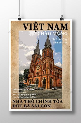 Poster gaya komik bangunan gereja perjalanan vietnam Templat PSD