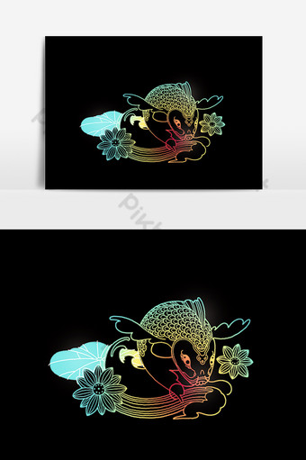 colorido pez carpa koi con flor de loto para el festival tet Elementos graficos Modelo PSD