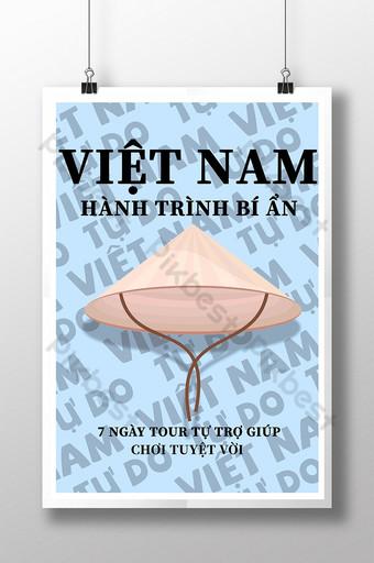 sombrero de viaje de vietnam y cartel simple de líneas oscuras Modelo PSD