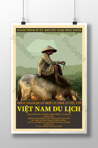 pintura retro hombre con sombrero cartel de viaje de vietnam Modelo PSD