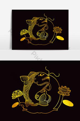 pez koi dorado en el lago con hermosa flor de loto Elementos graficos Modelo PSD