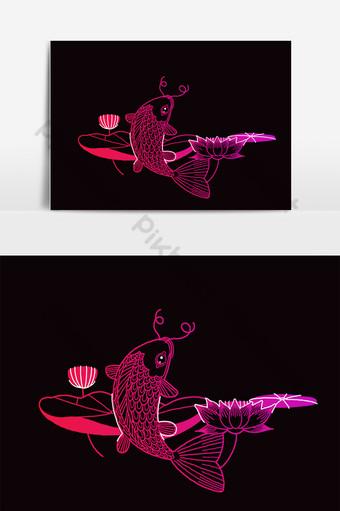 saltando peces koi en el lago con hermosa flor de loto Elementos graficos Modelo PSD