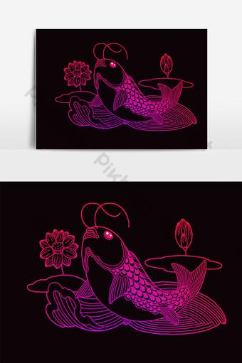 pez koi rosa pintado a mano en el lago con hermosa flor de loto Elementos graficos Modelo PSD