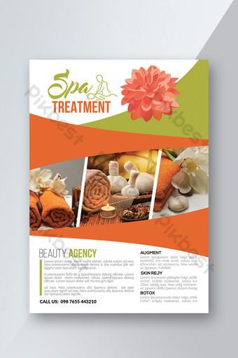 Modèles de flyers de fleurs blanches et vertes de spa de beauté Modèle PSD