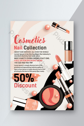 화장품 프로모션 립스틱 파운데이션 핑크 할인 전단지 템플릿 템플릿 PSD