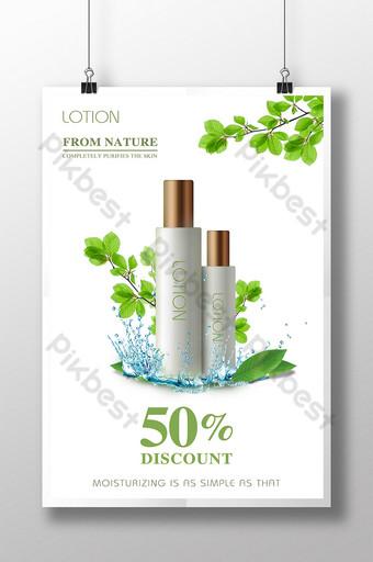poster kosmetik percikan air daun segar kecil berwarna hijau Templat PSD