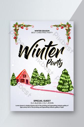 Winter Party Flyer Christmas Tree Wite Snow modèle Modèle PSD