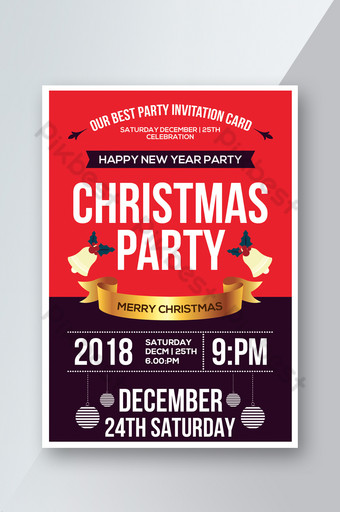 Flyer PSD rouge et violet de célébration de Noël Modèle PSD