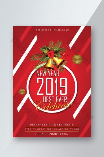 Modèle de Flyer de Noël 2019 fond rouge psd Modèle PSD
