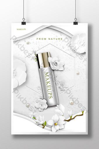 الأبيض الحد الأدنى ورقة الملمس زهرة طبقة ملصق الجمال قالب PSD