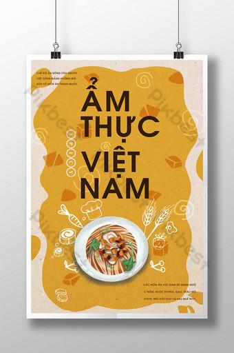 Hình minh họa Pop màu vàng Vị trí thú vị Poster món ăn Việt Nam Bản mẫu PSD