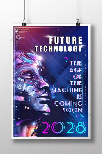 visão criativa de moda destaca poster de tecnologia de detalhe de robô futuro legal Modelo PSD