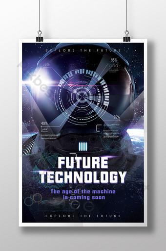 poster de tecnologia futuro astronauta dados de astronautas de moda universo espacial Modelo PSD