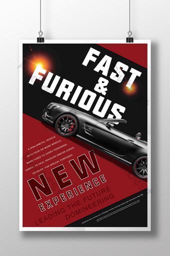 cartel del coche deportivo de la ciudad roja negra del resplandor fresco Modelo PSD