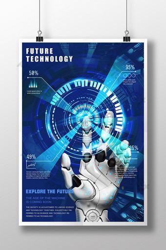 poster de tecnologia do futuro de dados do robô azul legal Modelo PSD