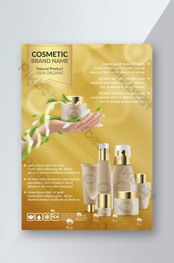 poster promosi kosmetik latar belakang kuning elegan Templat PSD