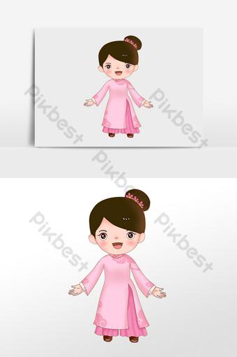 niña vietnamita en un hermoso vestido meñique ao dai Elementos graficos Modelo PSD