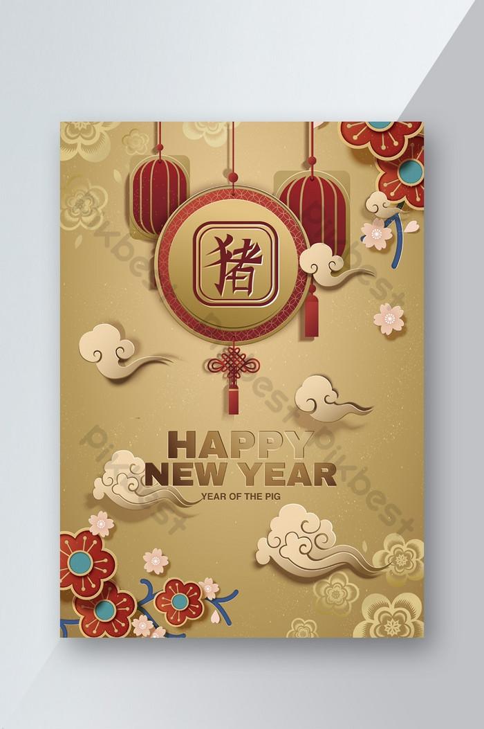 feliz ano novo chinês papel golden art style pôster