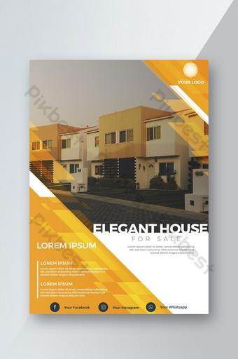 Brochure immobilière concise jaune moderne Modèle AI
