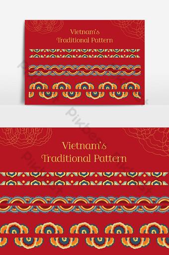 patrón de colores tradicional de vietnam Elementos graficos Modelo AI