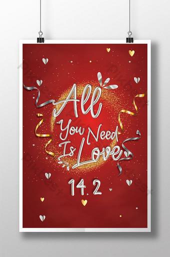 Citação de amor coração de ouro em forma de pôster do dia dos namorados Modelo AI